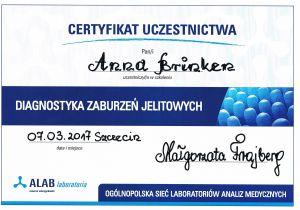 Diagnostyka zaburzeń jelitowych - certyfikat